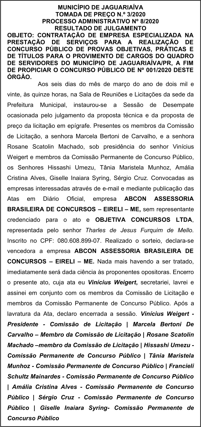 Banca do concurso Jaguariaíva